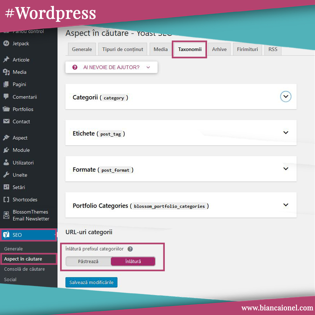 Elimina category din WordPress url cu Yoast SEO