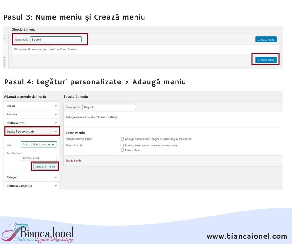 Blogroll in WordPress pasul 2 tutorial Bianca Ionel 2020