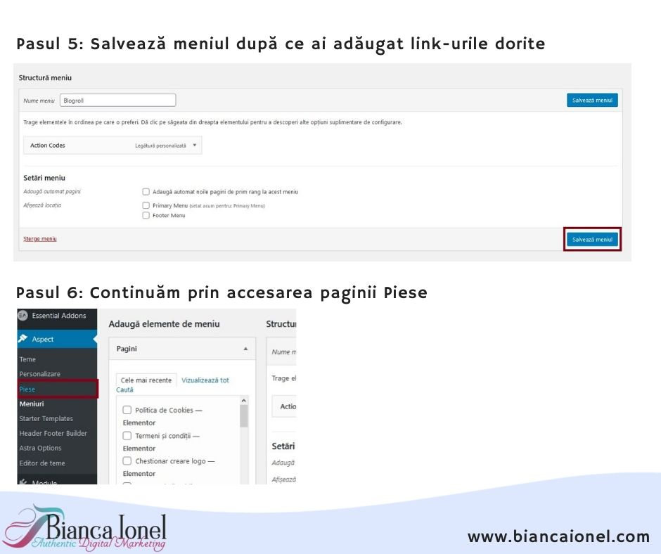 Pasul 3 Blogroll in WordPress tutorial 2020 Bianca Ionel